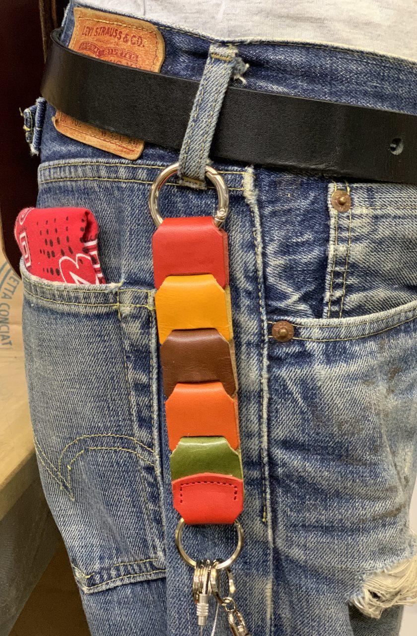 栃木レザー 本革 キーホルダー 編み込み メッシュ 日本製 ファッション小物 メンズ キーリング